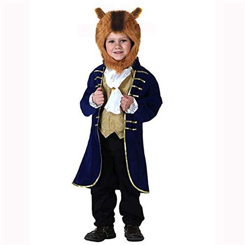 ZHANGY Halloween Kinder Das Biest Kostüm Cosplay Märchenprinz Kinder Performance Kostüm,Blau,L