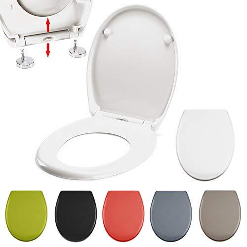 MSV WC Sitz Toilettendeckel Duroplast mit Absenkautomatik und auf Knopfdruck abnehmbar zur Reinigung in Weiß – Easy Fix Clip System