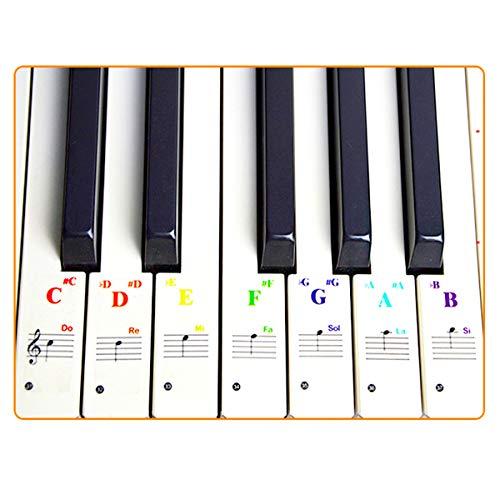 Klavier Aufkleber für Keyboards 88/61/54/49/37/32 Tastaturen, transparent und abnehmbar Noten-Aufkleber Klaviertasten Aufkleber