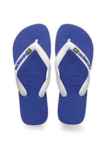 Havaianas Kid's Brazil Logo Flip Flop Sandal, Marine Blue, 3/4 M US Little Kid