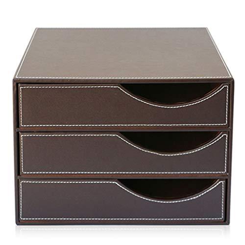 Opbergkasten Uitbreidbaar organisatiesysteem 3 laden desktop data opslag box leder zwart/bruin 12,7 x 9,2 x 9,2 inch kantoorbenodigdheden bruin