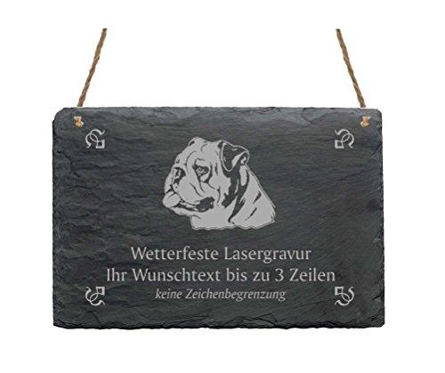 Schiefertafel « ENGLISCHE BULLDOGGE » IHR TEXT + MOTIV - 22 x 16 cm - Schild mit Hund - English Bulldog