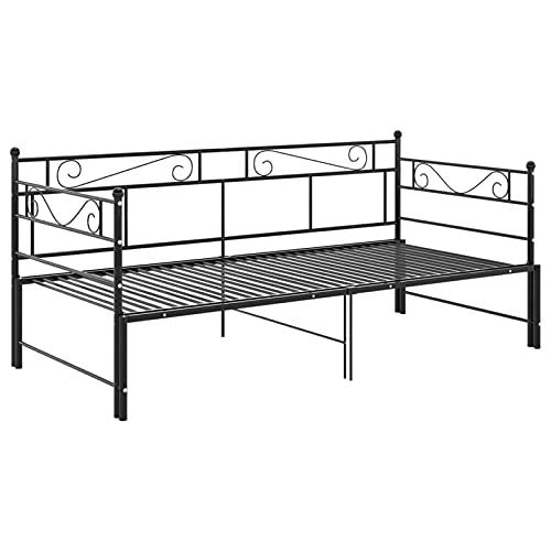 Cigopx Estrazione Sofa Bed Frame Black Metal 90x200 cm Versatile Sofa Bed Daybed Frame Slepover Bed