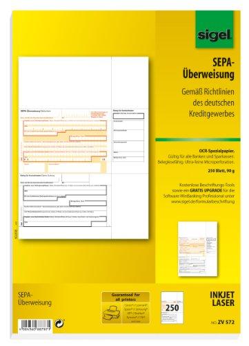 SIGEL ZV572 SEPA-Überweisungen, A4, 250 Blatt, incl. free download Beschriftungsassistent