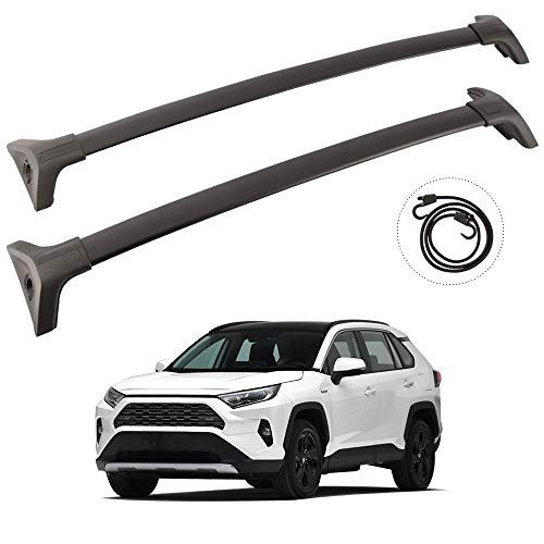 Tuntrol 2 Pieces Cross Bars Cargo Luggage Side Rail Fit for Toyota RAV4 2019 2020 Black Roof Rack