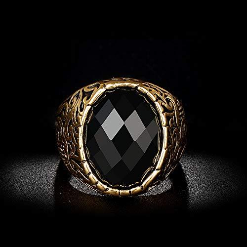 KEJI Anillo de oro de moda para hombre, talla de mosaico, ovalado, piedra negra, anillo antiguo, joyería vintage