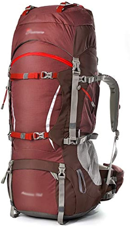 CHENG BAG Profi-Bergsteigerpaket, Outdoor-Reisetasche Groe Kapazitt Ergonomie Leistungsfhiges Plug-In Wasserdicht Atmungsaktiver Komfort Unisex (Farbe   Pomegranate rot)