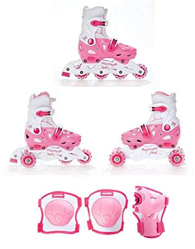 Croxer 3in1 Kinder Inlineskates/Triskates/Rollschuhe Balloon Pink verstellbar Größe: 37-40 + Schützer Neve XS