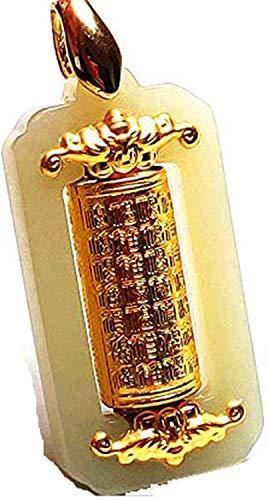 yigedan Halskette mit Anhänger, 24 Karat Gold, Thailand, Schrift Wishing Rotation, weißer Jade mit Silberkette