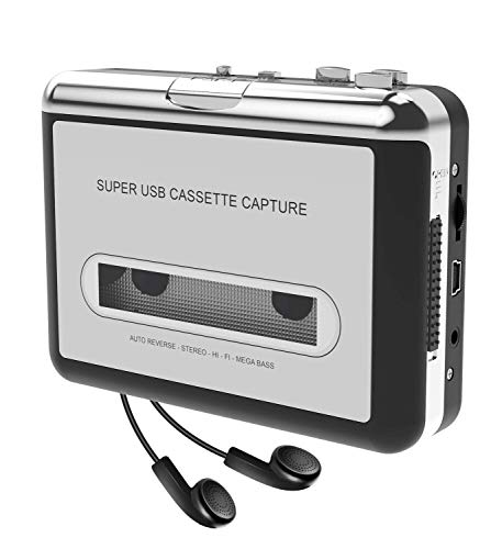convert tapes Cassette Player-Cassette Tape to MP3 CD Converter- Powered by Battery or USB,Convert Walkman Tape Cassette to MP3, Compatible with Laptop and PC, USB Cable,Software CD,3.5mm Jack Earphone-DIGITNOW