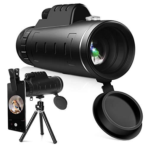 YISSVIC Telescopio Monocular 12 X 55 HD Zoom óptico Telescopio Impermeable y a Prueba de Niebla con Trípode de Metal Extensible para la observación de pájaros, Turismo, Caza, Acampada y Concierto