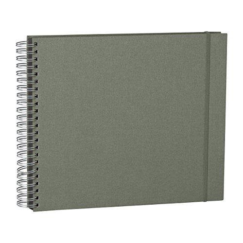 Semikolon Fotoalbum Spiral-Viel, Leinen Anthrazit Fotokarton für Fotobuch für Einfügen Fotos, 45 Blatt, grau