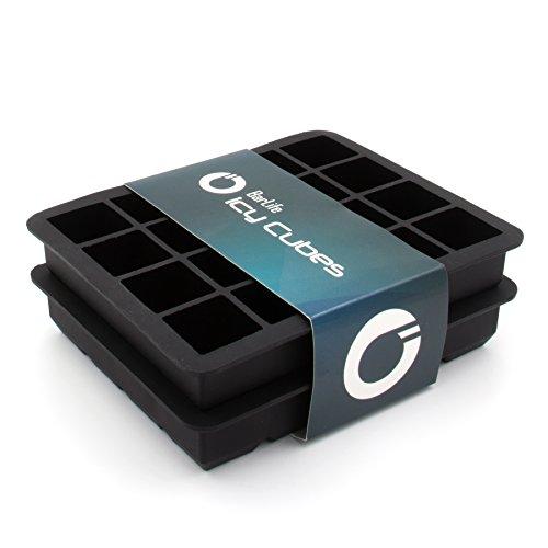 """BarLife """"Icy Cubes"""" - 2er Set Eiswürfelform aus Silikon zum Erstellen perfekter Eiswürfel um ihre Getränke zu kühlen"""