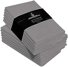 Trade Fountain Servilletas de Tela Juego de 12 algodón - Servilletas Reutilizables de 50 X 50 CM - Servilletas de algodón de Gran tamaño Hechas de Tela de algodón Puro - (Gris)