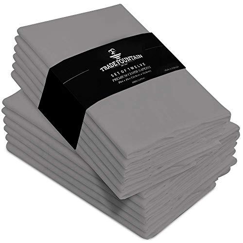 Trade Fountain Stoffservietten 12er-Set Baumwolle - 50.8 x 50.8 cm Wiederverwendbare Servietten - Übergroße Baumwollservietten aus reiner Baumwolle - Verwendung als Servietten (Grau, Servietten)