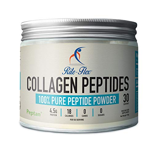 Rite-Flex Collagen Peptides 5000 mg per Serving | Peptan 100% Peptide Powder| Made in France | Hydrolysed, No Sugar no Carbs |Meets with 2019 WADA Code| Backed by Science