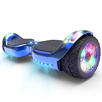 HOVERSTAR HS 2.0v Hoverboard All-Terrain Two Wide Wheels Design Self Balancing Flash Wheels Electric Scooter with Wireless Bluetooth Speaker and More LED Lights (Chrome Blue)