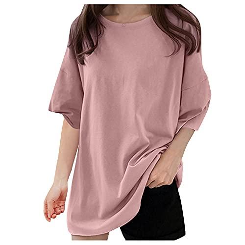 Dasongff Camiseta de ocio básica para mujer, elegante, cuello redondo, manga corta, talla grande, informal, de un solo color, suelta, suelta, túnica, camisas para mujer