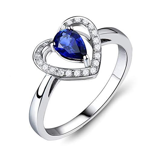 Daesar Anillo de Boda Oro Blanco 18 Kilates Mujer,Corazón con Gota de Agua Zafiro Azul 0.55ct Diamante 0.11ct,Plata Azul Talla 20