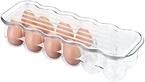 mDesign Huevera de plástico para la nevera – Envase para huevos con tapa con capacidad para 12 huevos – El complemento de cocina imprescindible – Color: transparente