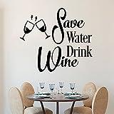 Pegatina de pared de vinilo con texto en inglés «Save Water Drink Vino» para la pared, diseño de copas de vino