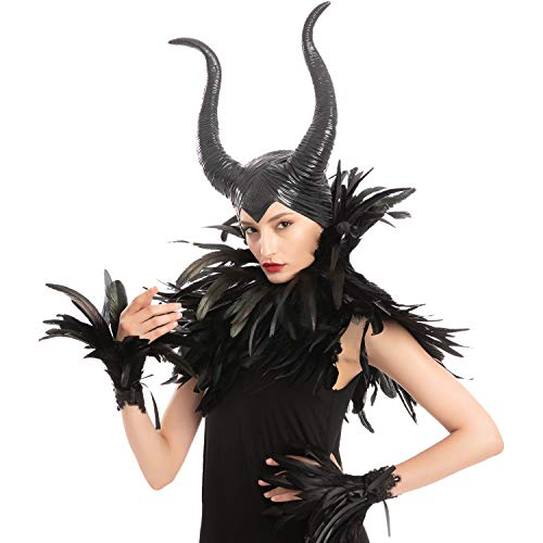 Black Evil Queen Accessories Set with Horn, Feather Shawl and Feather Cuff for Halloween Cosplay Party Gothic Crow Costume Dress Up