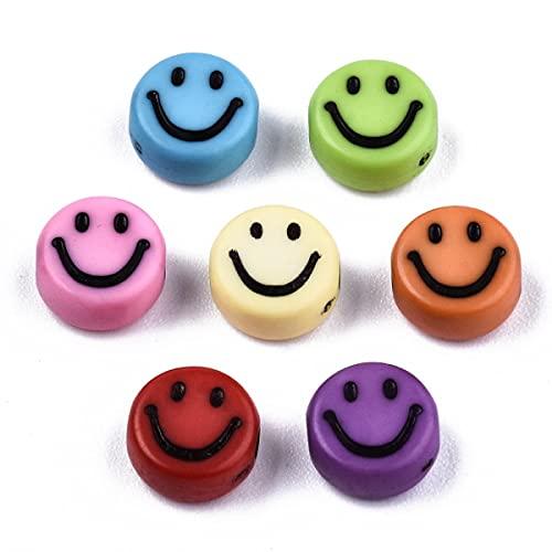 Sadingo 100 cuentas multicolor de 7 mm, para hacer pulseras de perlas de bricolaje, perlas de plástico para joyas infantiles.