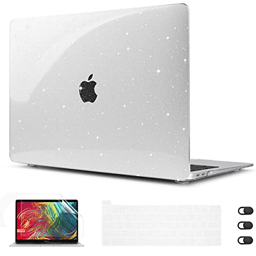 CISSOOK Clear Glitter Star Case for MacBook Pro 13 Inch 2021 2020 Release Model A2338 M1 A2251 A2289, Plastic Sparkly Bling Hard Shell Case with...