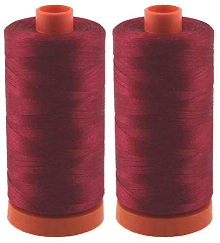 Amazing Deal 2-Pack - Aurifil 50WT - Red Wine (2260) Solid - Mako Cotton Thread - 1422 Yards Each