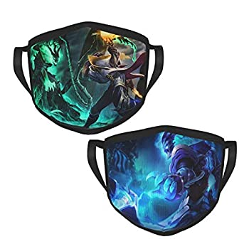 Lucian and Thresh League Legends Mask Face Filter 2 Pcs Reusable Washable Adult Outdoor Mouth Covering Headwear Bandanas
