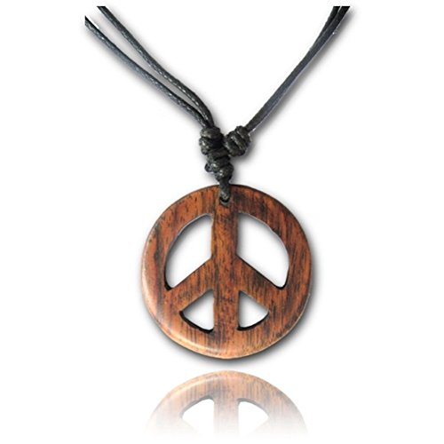 Earth Accessories Adjustable Peace Sign Pendant Necklace with Organic Wood - Hippie Accessories and Hippie Costume for 60s or 70s