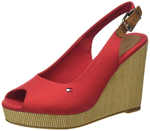 Tommy Hilfiger Iconic Elena Sling Back Wedge, Sandalias con Punta Abierta para Mujer, Rojo (Primary Red XLG), 39 EU