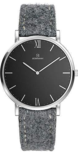 Herren Uhr Bauhaus-Stil Schweizer Uhrwerk Saphirglas schwarzes Ziffernblatt Gehäusedurchmesser 41mm Exklusives Lodenarmband aus 100% Merinowolle Freda JEDERMANN