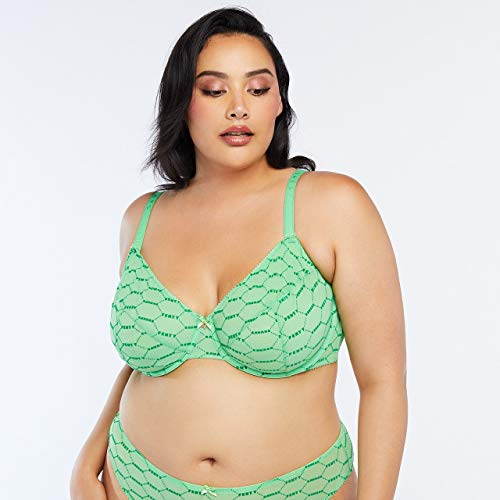 Savage X Fenty Women's Curvy Flocked Logo Unlined Bra, Green Cactus, 46D