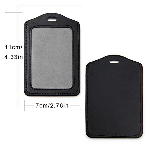 KLOUD City 10 pcs Vertical Style Black Leather Business ID Badge Card Holder with Slot & Chain Holes Photo #4