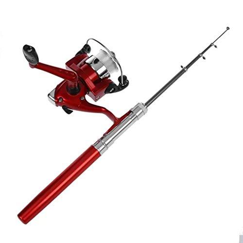 RYDQH Caña de Pescar telescópica con Forma de bolígrafo portátil 1M + arrancador de Hilo de Carrete