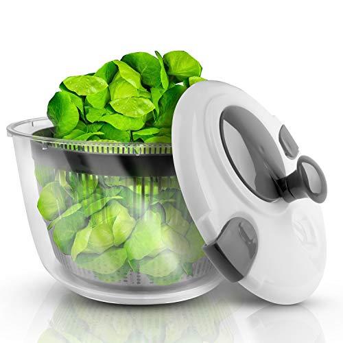 Lacari ® Salatschleuder mit großem [5L] Fassungsvermögen – Optimaler Salattrockner mit Ablaufsieb - Einfaches Bedienen durch Drehen der Kurbel