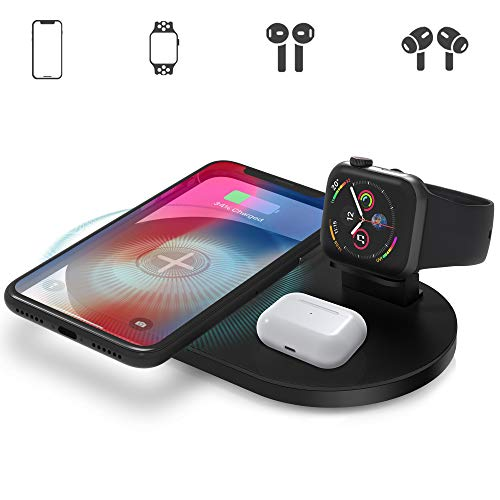 Wireless Charger, 3-in-1 Wireless Charging Station Compatible with Apple Watch, AirPods/Pro, 7.5W Fast Charger for iPhone 11 Series/XS MAX/XR/XS/X/8/8 Plus and More (No AC Adapter)