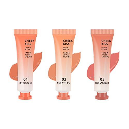 Freeorr 3 Farben Gesicht Liquid Blush, Liquid Blush Set Gesicht Wange Kuss Blush Make-up, Bright Lightweight Natural Looking Blush Effekt-12ml