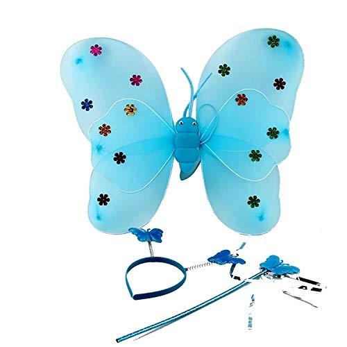 thematys Juego de 3 Piezas de Disfraces de Mariposa para niños en 3 Colores Diferentes - alas, Diadema y Varita mágica Carnaval y el Cosplay (Azul)
