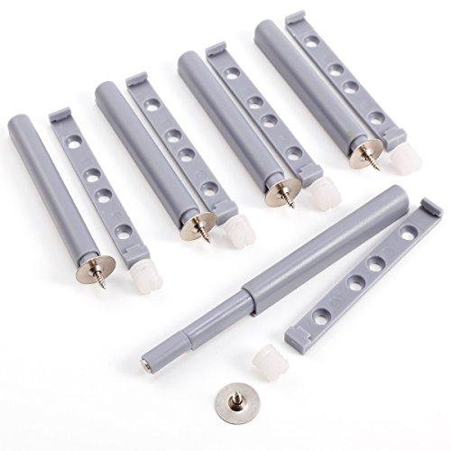 Anladia 5er Grau Druckschnapper Magnetschnapper Türschnäpper Möbelmagnet Push to Open Türöffner mit magnetischer Zuhaltung Türschnapper inkl. magnetischer Gegenplatte