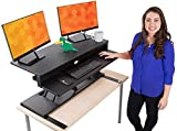 Flexpro Power 40 Inch Electric Standing Desk | Electric Height-Adjustable Stand up Desk | by Award Winning Stand Steady! Holds 2 Monitors + Laptop! | Easy Quiet Adjustments! (Black) (40')