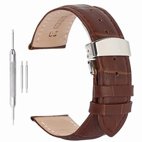 22mm Correa de Reloj de Correa de Piel de Mariposa de liberación rápida Hebilla de despliegue para los Hombres