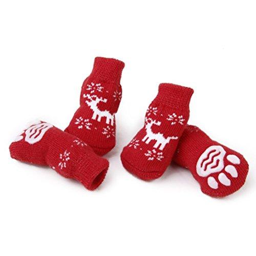 LUOEM 4 Stück Anti Rutsch Socken Hunde Kleine Hundetatzenschutz Puppycat Socken Weihnachten Rentier mit Paw Prints Größe S