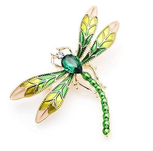 Broche de libélula de cristal verde esmaltado para mujeres y hombres, insectos de metal, bodas, banquetes y fiestas, alfileres de regalo, por defecto