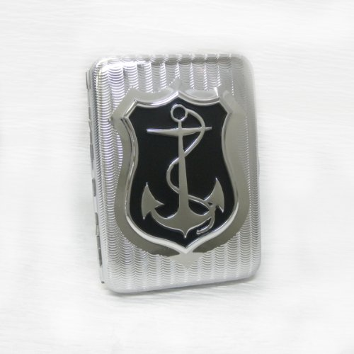 【シガレットケース】  *細かな波間に浮かぶ碇*  錨デザイン  シルバー×ブラック 16本サイズ  縦横:約7×約9.5cm   I