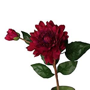 Acamifashion 1 Pack Vibrant Faux Flower Potted Multipurpose Realistic Silk Cloth Fake Dahlia Branch Decoration for Home Indoor Room Rose Red
