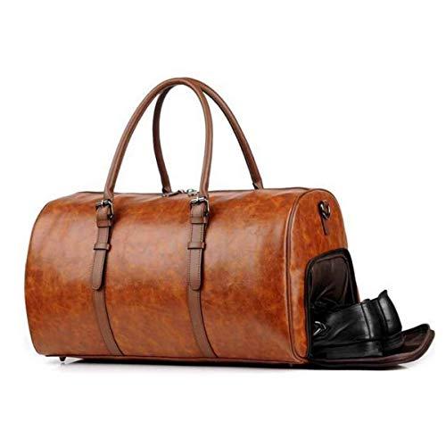 Bolsa de viaje de cuero Y de los hombres de las mujeres Mochila con cuerdas aptitud al aire libre Mochila con cuerdas de cuero PU bolsa de viaje de fin de semana bolsa Bolsa de viaje deportiva de fin