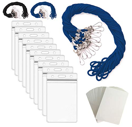 ID Badge Holder Lanyards for ID Badges - ID Holder for Lanyard Nurse Badge Reel ID Card Holder Lanyard Name Badge Holder - ID Lanyard Name Tag Holder Plastic Card Sleeves - Blue Vertical - 55 Sets