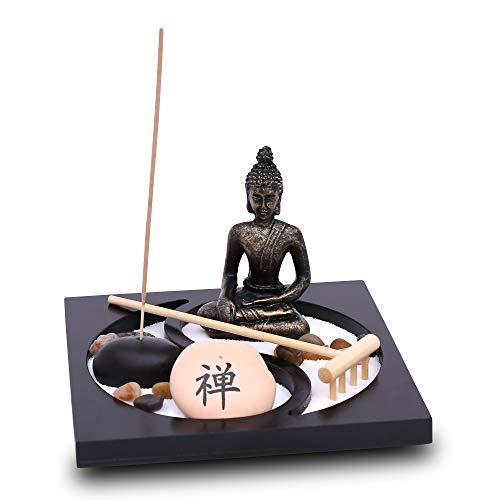 Zen Garten mit Buddha Figur - Japanischer Miniatur Garten - Feng Shui Räucherstäbchenhalter - Esotherik Set mit 3 Räucherstäbchen - Glücksbringer aus dem Buddhismus und Daoismus (Yin Yang Design)